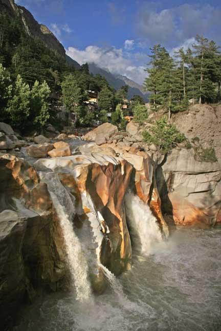 Ganga torrent drops into deep  gorge at surya kund Gangotri Indi